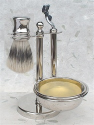 Nickel 5-pc Shaving Set, Short Handle Boar Brush and Mach3 Razor