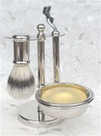 Nickel Shaving Set, Boar Bristle Brush and Mach3 Razor