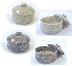 Genuine soap stone bowl with lid