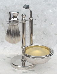 Nickel Boar Short Handle Shaving Set with Fixed Head Razor