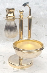 Golded Brass 5-pc Boar Short Handle Shaving Set, Fixed Head Razor