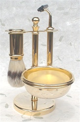 Golded Brass Long Handle Boar Shaving Set with Trac II Fixed Head Razor