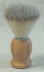 Synthetic Fibre Shaving Brush - Genuine Olive Wood Handle