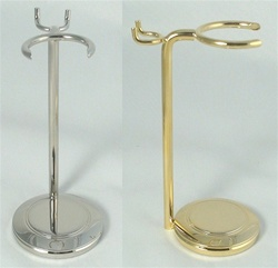 Nickel or Gold High Brush and Razor Stand - Weighted Base
