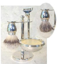 Five Piece Nickel Badger Brush Shaving Set