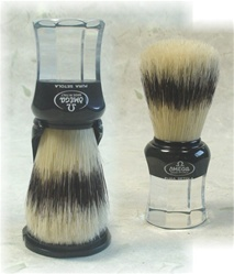 Omega Black and Clear Handle Boar Brush with Holder