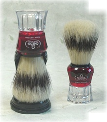 Omega Red and Clear Handle Boar Brush with Holder
