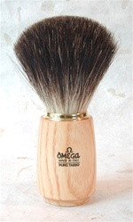 Omega Ash Wood Handle Brush - Pure Badger