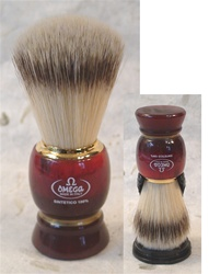 Omega Sintetico Brush - Reddish-Brown Turned Resin Handle