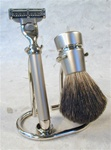 Satin and Polished Pure Badger 3-pc Set, with Mach3 Razor