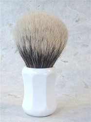 "Extra wide octagon facet handle brush with ""Silver Tip"" bristles"