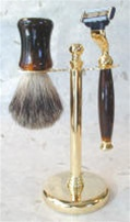 Tortoise and Golded Finish Greys Badger 3-pc Set with Mach3 Razor