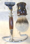 Tortoise and Nickel Three Piece Silver Tip Shaving Set