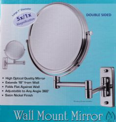 Wall Mount Mirror - Satin Nickel 5X and 1X