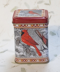 Candle in Red Cardinal Design Holiday Tin
