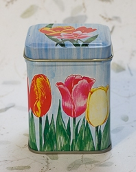Candle in Tulip Flower Design Tin