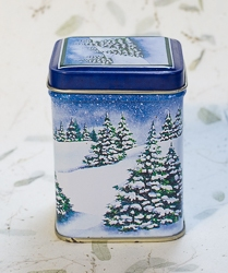 Candle in Snowy Evergreen Tree Design Tin