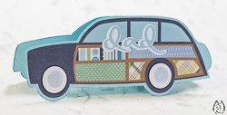 Dad Station Wagon Motif Greeting Card