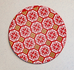 Round Designer Paper Coaster with Cork Backing - 03