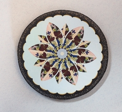 Round Wood Coaster with Pressed Flower Kaleidoscope Image - 02