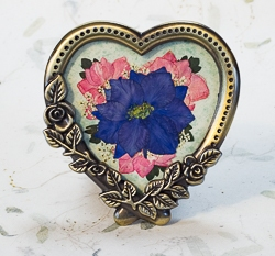 Real Pressed Larkspur in Heart Shaped Antique Brass Tone Frame