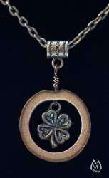 Bamboo and Four-Leaf-Clover Charm Pendant Necklace