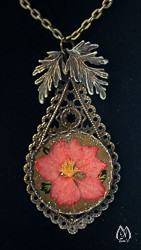 Filigree and Pressed Larkspur Pendant Necklace
