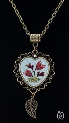 Coral Bells Genuine Pressed Flower Heart Pendant Necklace