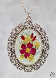 Verbena Real Pressed Flower Oval Pendant Necklace