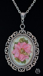 Pink Larkspur Pressed Flower Oval Pendant Necklace