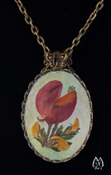 Lupine Blossom Pressed Flower Oval Pendant Necklace