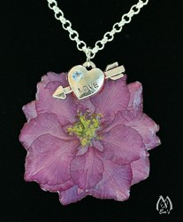Larkspur Blossom and Love Charm Pendant Necklace