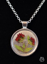 Oregano Floret Pressed Flower Round Pendant Necklace