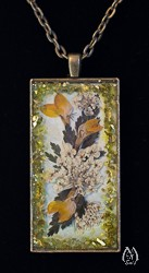Queen-Ann's-Lace Genuine Pressed Flower Rectangular Pendant Necklace