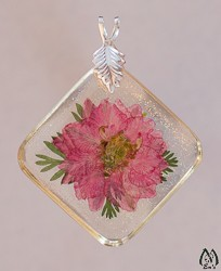 Pink Larkspur Blossom Necklace Pendant