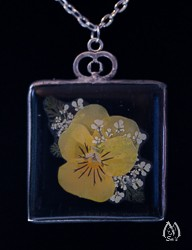 Square Stained Glass and Pansy Pressed Flower Pendant Necklace