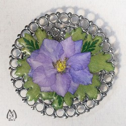 Real Pressed Flower Handmade Magnet with Blue Larkspur