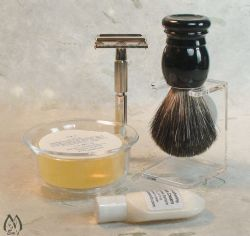 Faux Black Pure Badger Brush and Double Edge Razor Kit
