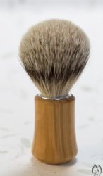 Olive Wood Concave Handle Brush with Silver Tip Bristles
