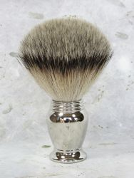 Solid Metal Nickel Fine Tapers Bristle Shaving Brush