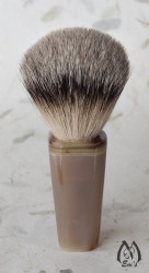 Genuine Faceted Horn Handle Silver Tip Shaving Brush