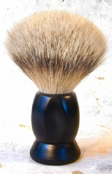Black Silver Tip Brush with Four Sided Faceted Handle