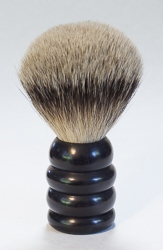 "Large Ebony Wood Ridged Handle Brush with ""Silver Tip"" Bristles"