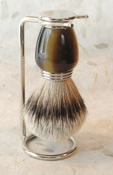 Nickel and Galaith Silver Tip Wet Shaving Brush