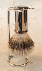 Titan Gun Metal Cylinder Silver Tip Handle Shaving Brush