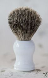 Pure Badger Bristle White Handle Shaving Brush