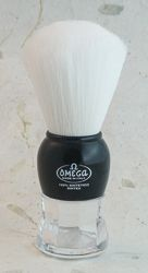 Omega Syntex Black and Clear Handle Shaving Brush