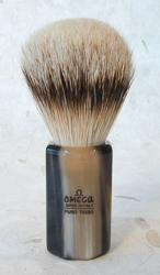 Omega Horn Faceted Handle Silver Tip Brush