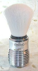 Omega Syntex Silver Hard Plastic Handle Shaving Brush