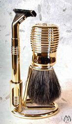 Gilded Plastic 3-pc Pure Badger and Sensor Shaving Set